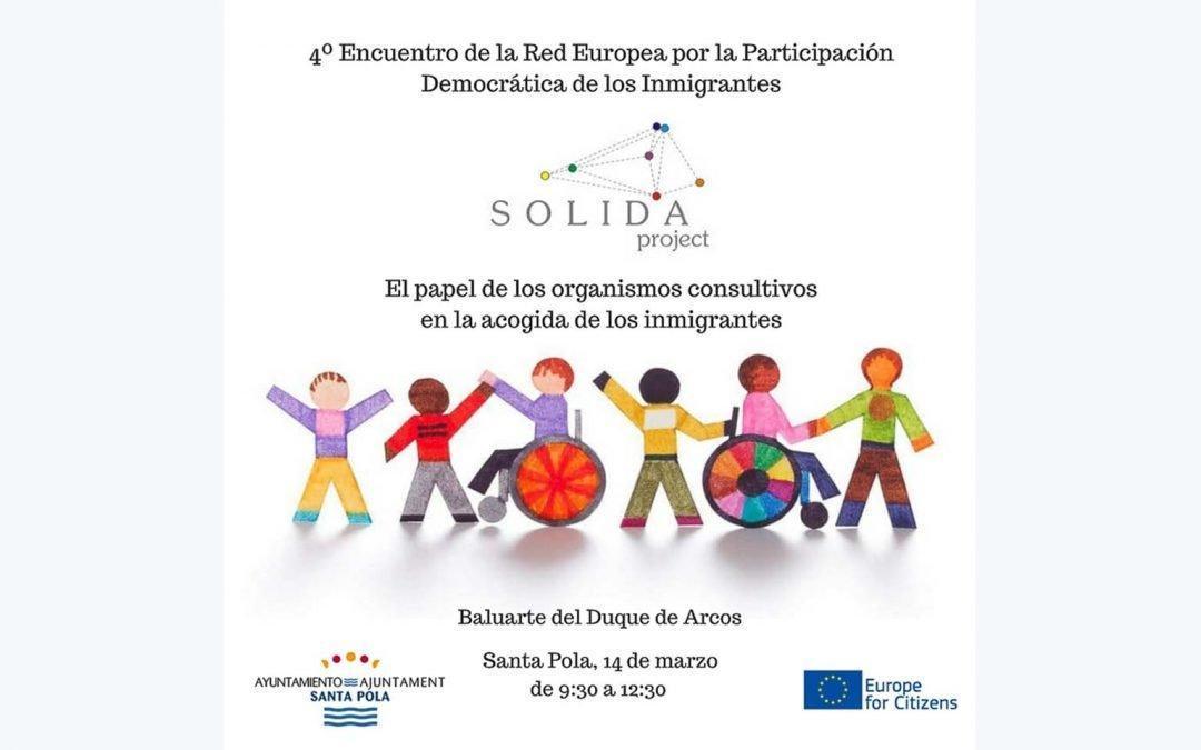 Santa Pola será sede del IV encuentro del proyecto Solida sobre migraciones y organismos consultivos