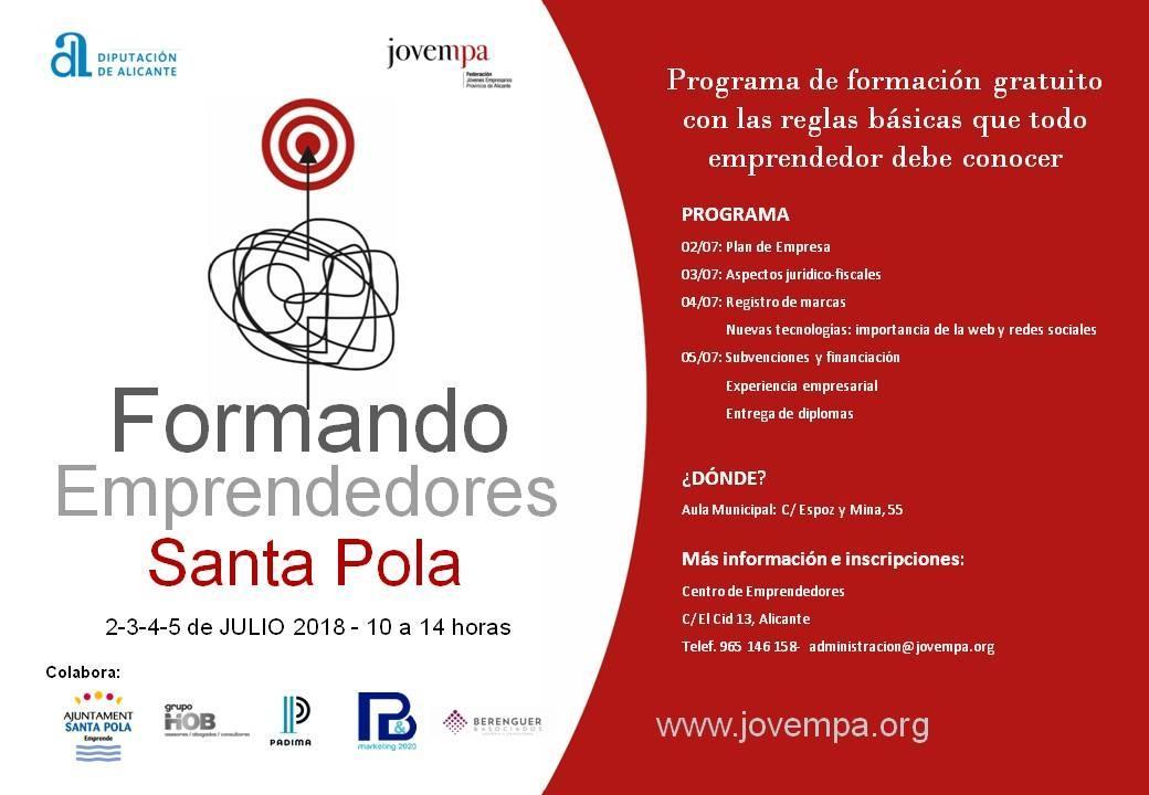 Programa gratuito Formando Emprendedores en Santa Pola.