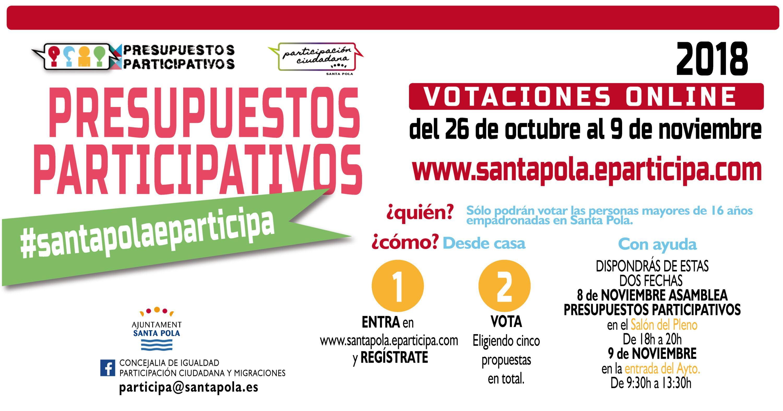 Desde el 26 de octubre hasta el 9 de noviembre se pueden votar vía online los Presupuestos Participativos de Santa Pola