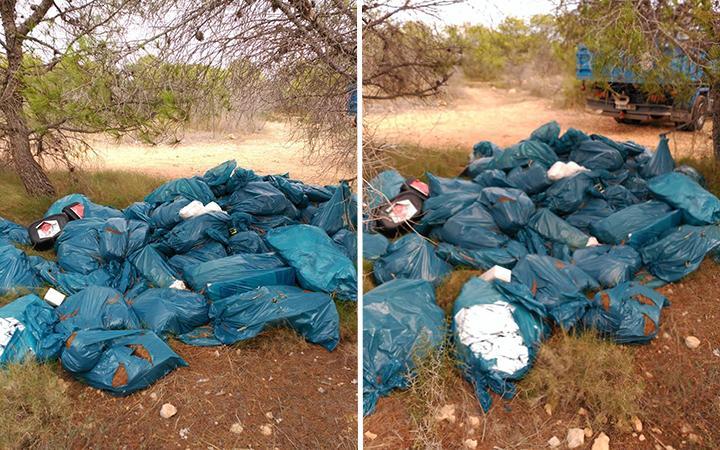 La Concejalía de Sostenibilidad recoge más de treinta bolsas de basura en solo una pinada del Cabo de Santa Pola