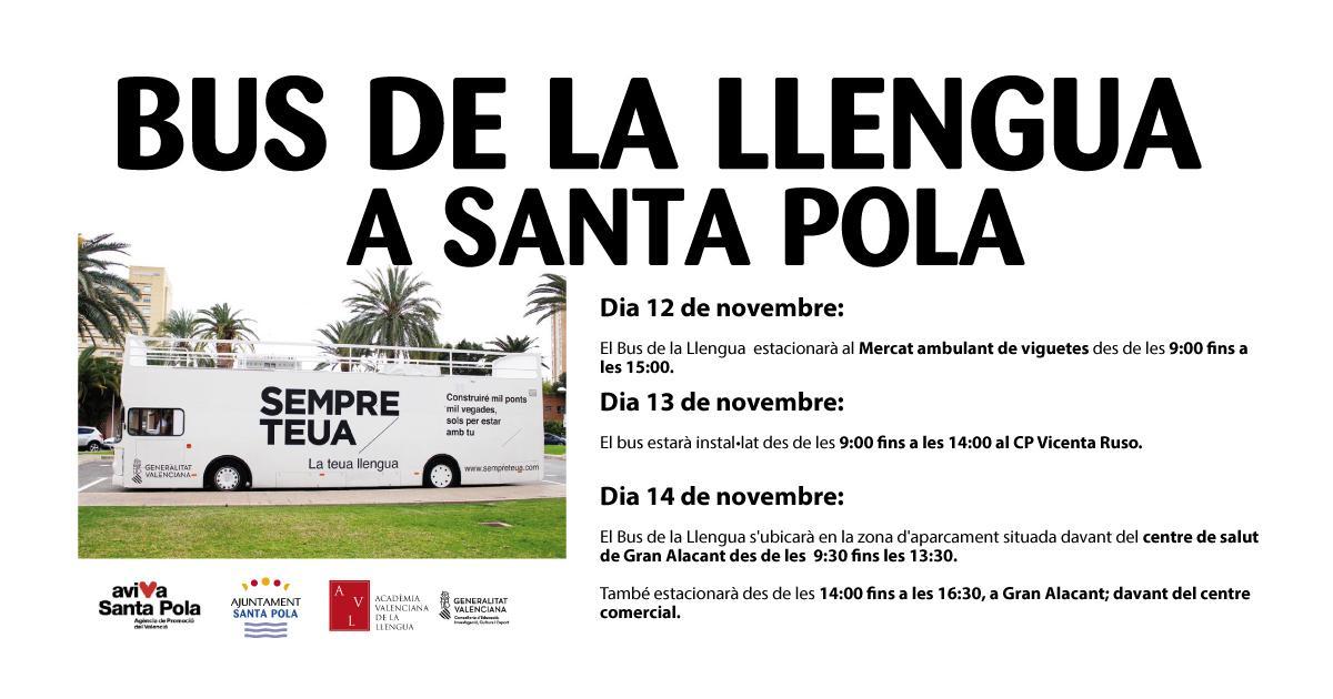 """""""El bus de la llengua"""" estará en Santa Pola y Gran Alacant los días 12, 13 y 14 de noviembre"""