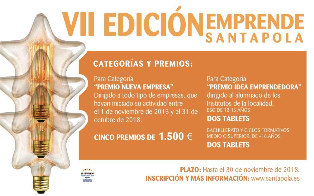 La VII edición de los premios Emprende Santa Pola llega a nuestra localidad para reconocer y galardonar la labor de los emprendedores