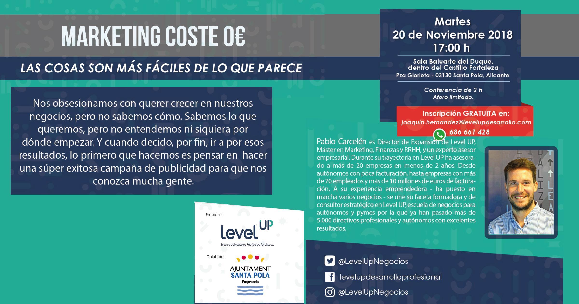 El Servicio Emprende Santa Pola del Ayuntamiento trae una nueva jornada a la villa: Marketing a coste 0, gracias a la escuela Level UP