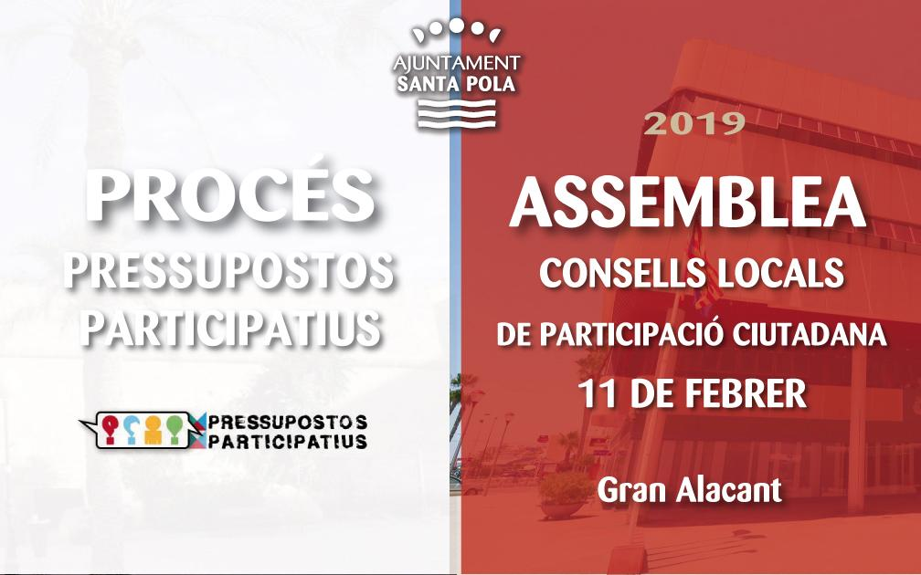 La primera Assemblea de Consells Locals de Santa Pola arriba al pavelló de Gran Alacant l'11 de febrer