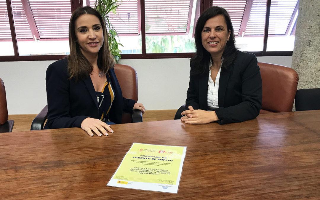 Santa Pola rep una subvenció del SERVEF per a la contratació de personesdesocupades per a la realització d'obres o serveis d'interés