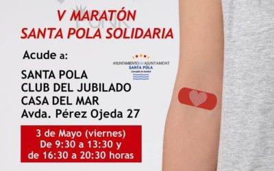 Arriba a Santa Pola una marató de donació de sang, el 3 de maig a la Casa del Mar