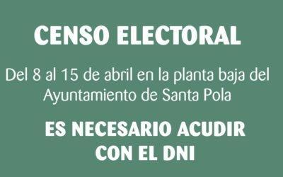 El Ayuntamiento de Santa Pola comprobará del 8 al 15 de abril el censo electoral de la localidad