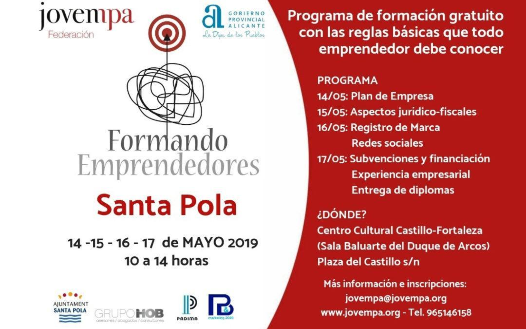 «Formando Emprendedores» vuelve a Santa Pola con un programa gratuito sobre todo lo que un emprendedor debe conocer