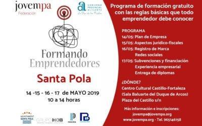 "(Castellano) ""Formando Emprendedores"" vuelve a Santa Pola con un programa gratuito sobre todo lo que un emprendedor debe conocer"