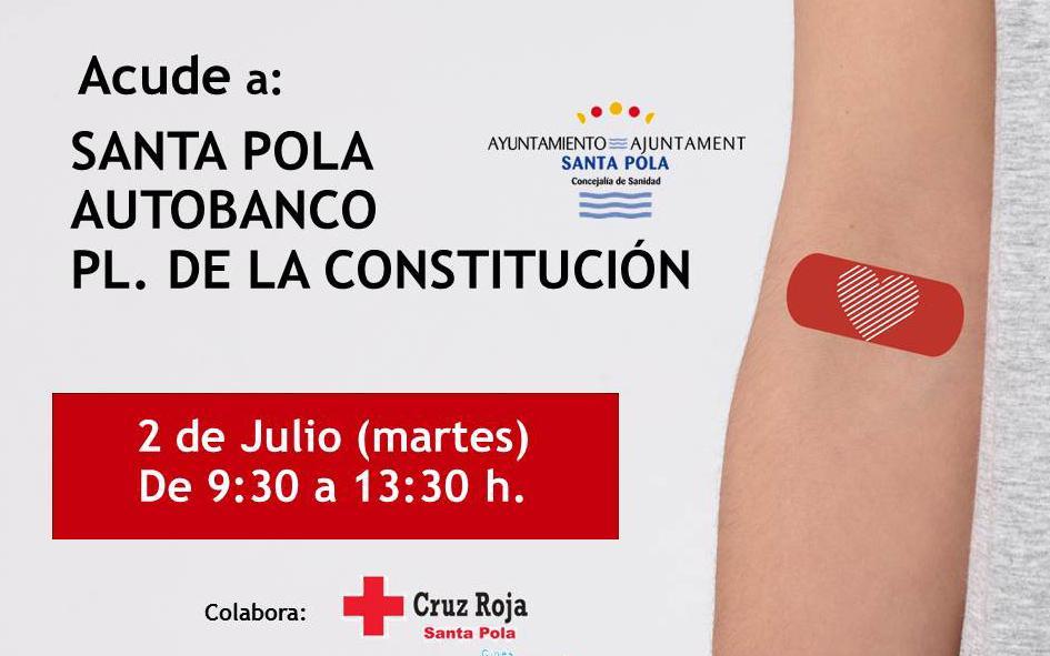 (Castellano) El 2 de julio Santa Pola recibe el autobanco de donación de sangre, situado en la Plaza de la Constitución