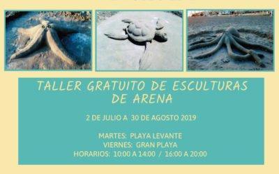 Los Talleres Gratuitos de Esculturas de Arena vuelven a las playas de Santa Pola el dos de julio