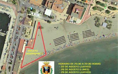 """(Castellano) Ensayos """"Asalto Moro"""" días 22, 26 y 29 agosto en Playa Levante"""