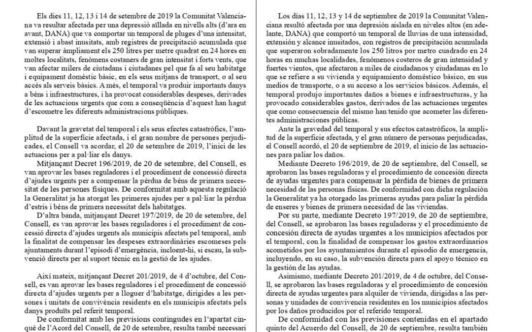 Información Decreto 237/2019 de 18 de octubre de 2019 para ayudas a vehículos siniestrados por efecto de la DANA